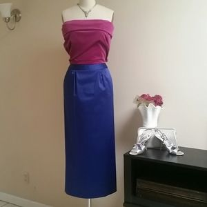 Royal Blue Satin Evening Pencil Skirt Talbots S